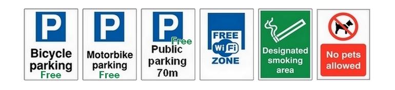 Strážené parkovisko pre bicykle, motorky. Verejné parkovisko pre osobné autá, vzdialené 20 - 100m od A7 Apartments.