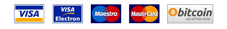 Akceptujeme nasledovné platobné karty a Bitcoin.
